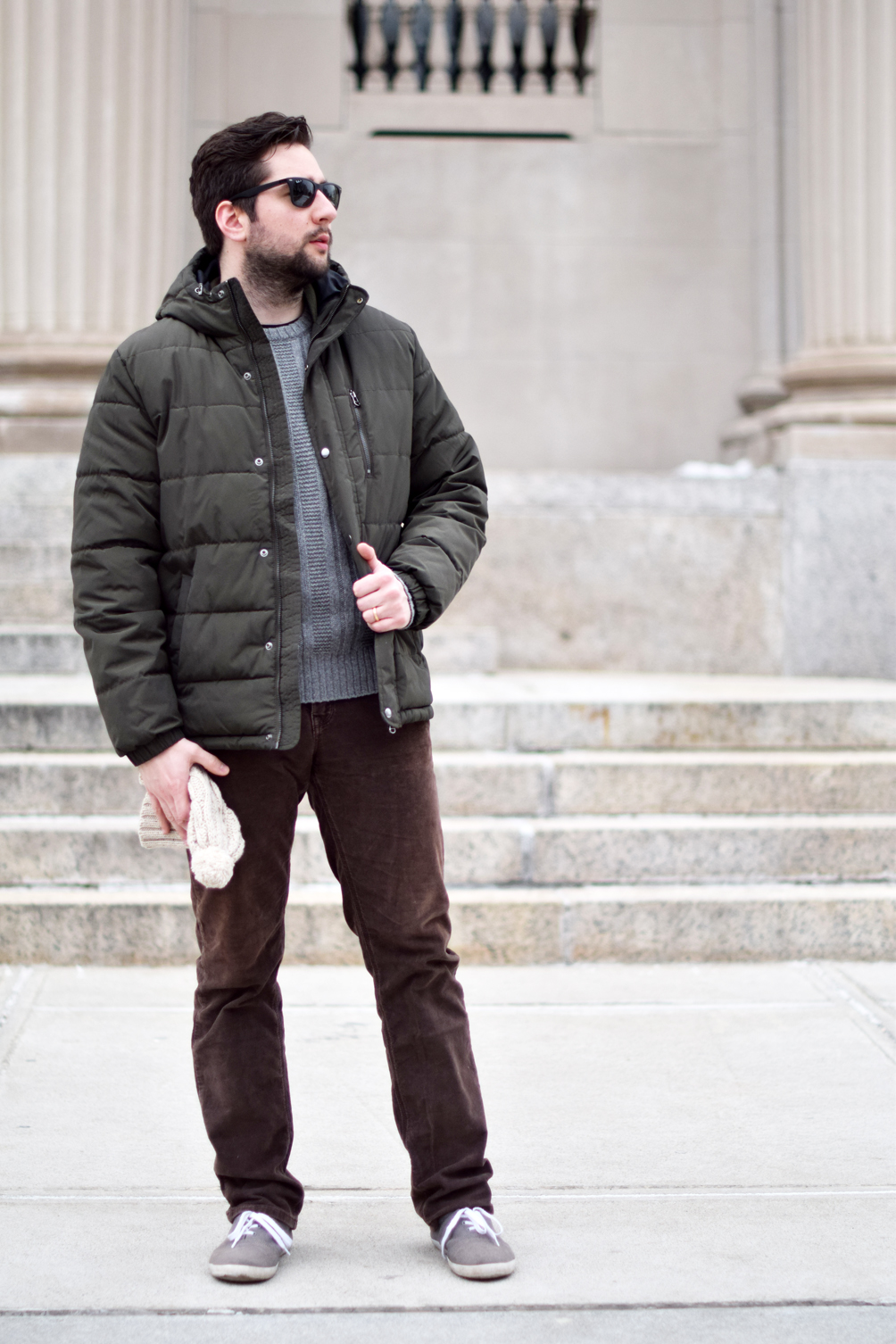 olive green puffer jacket for men - one brass fox