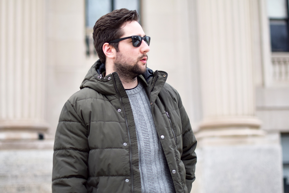 winter style menswear with a puffer jacket + knit sweater - one brass fox