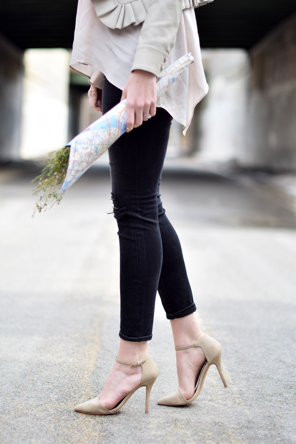 distressed denim and nude pumps - one brass fox