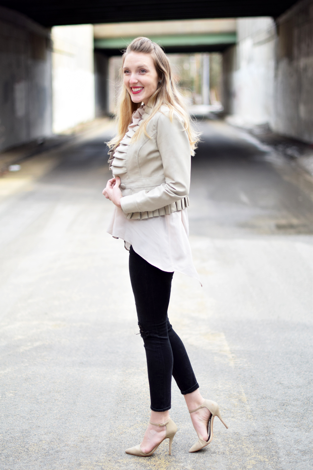 women's casual spring style with distressed denim - one brass fox