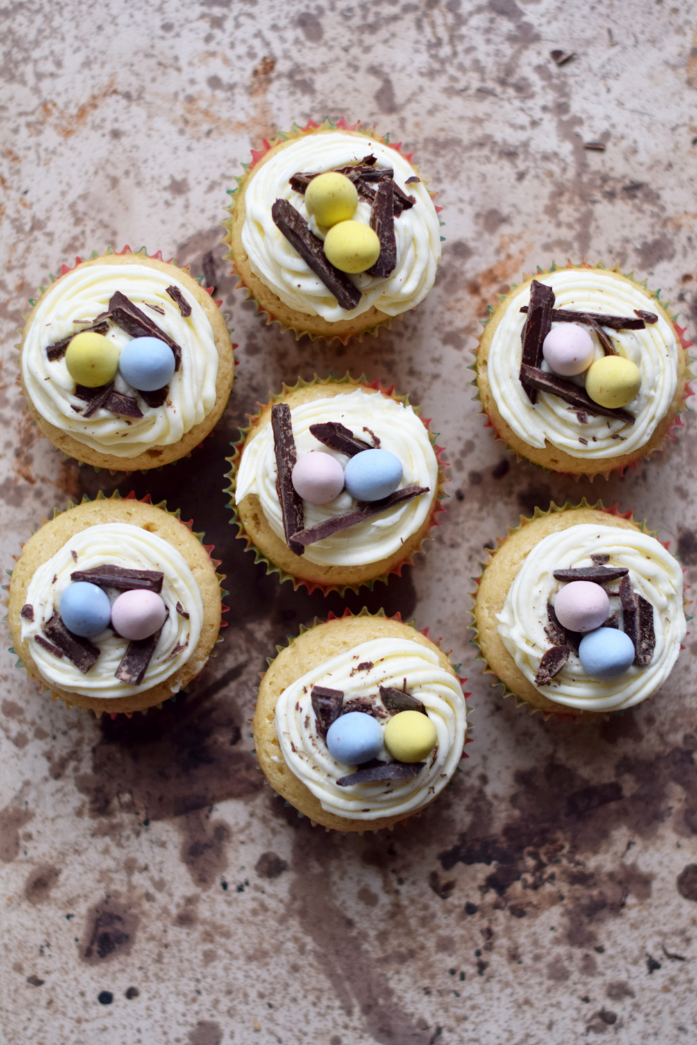 easter egg basket cupcakes - one brass fox