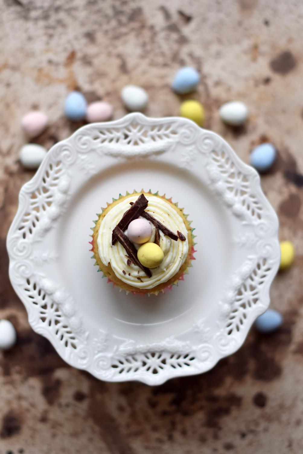 white chocolate easter egg cupcake recipe - one brass fox