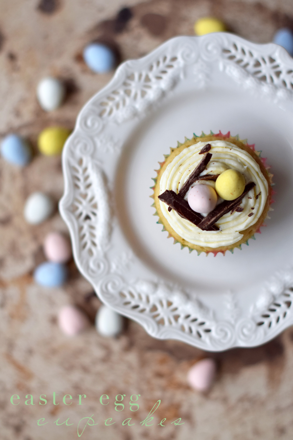 white chocolate easter egg cupcakes recipe - one brass fox