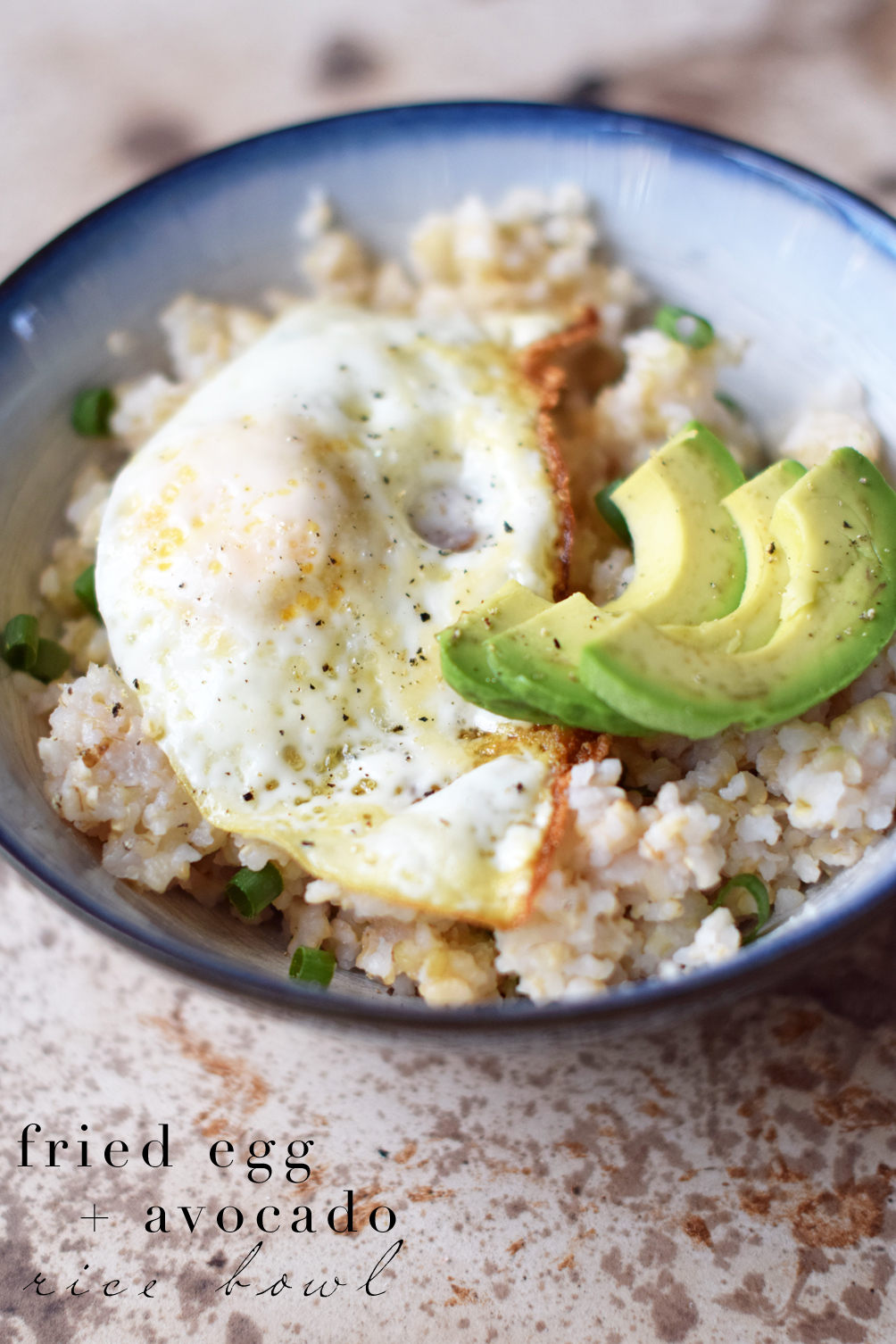 fried egg avocado rice bowl recipe - one brass fox