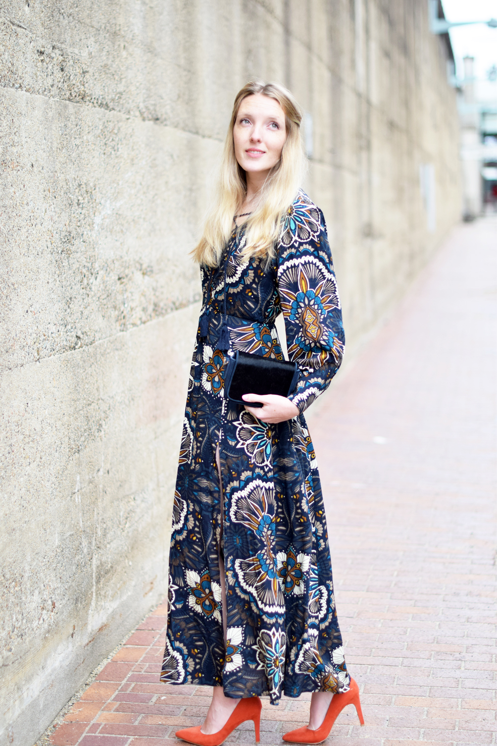 seventies style maxi dress and calf hair clutch - one brass fox