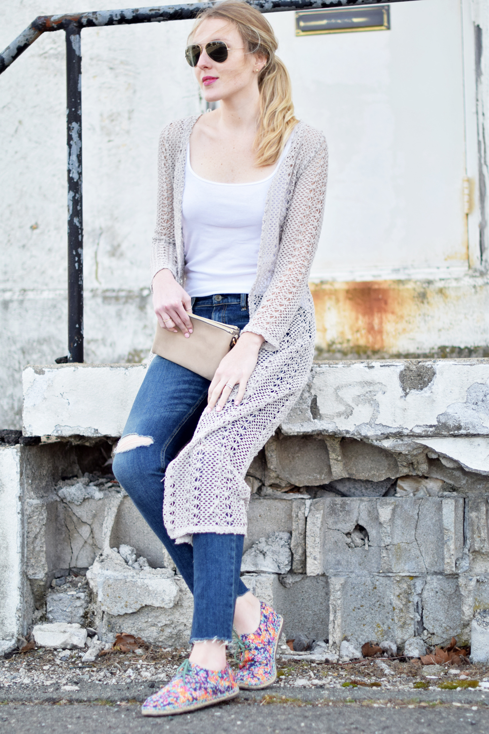 laidback spring style with a crocheted duster and raw edge denim - one brass fox