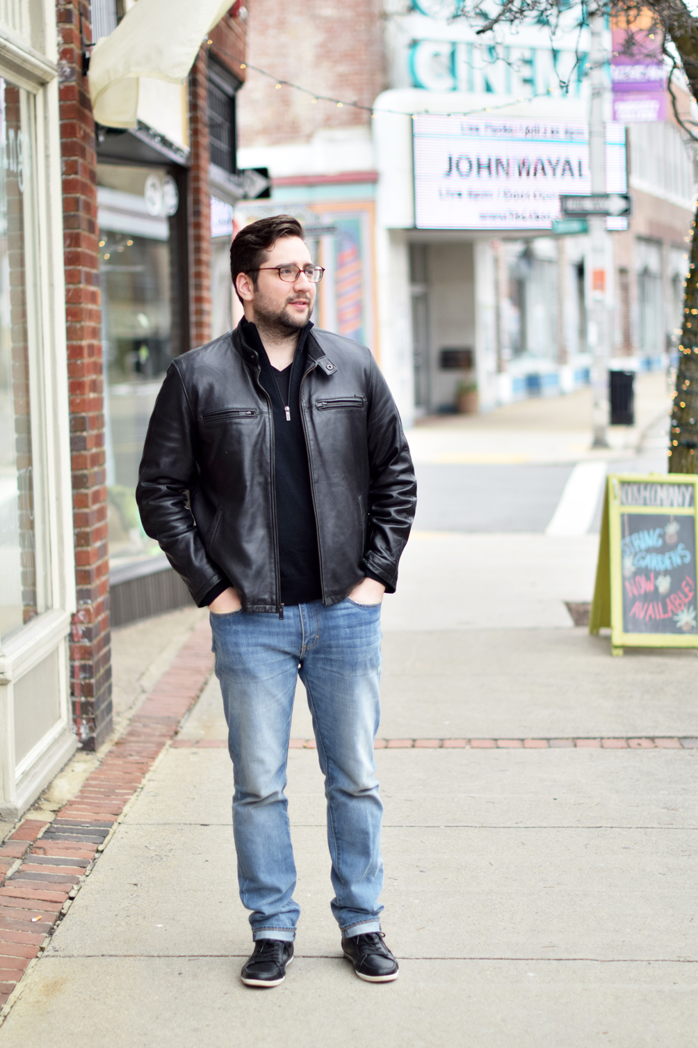men's spring style outfit featuring a black leather jacket and sneakers - one brass fox