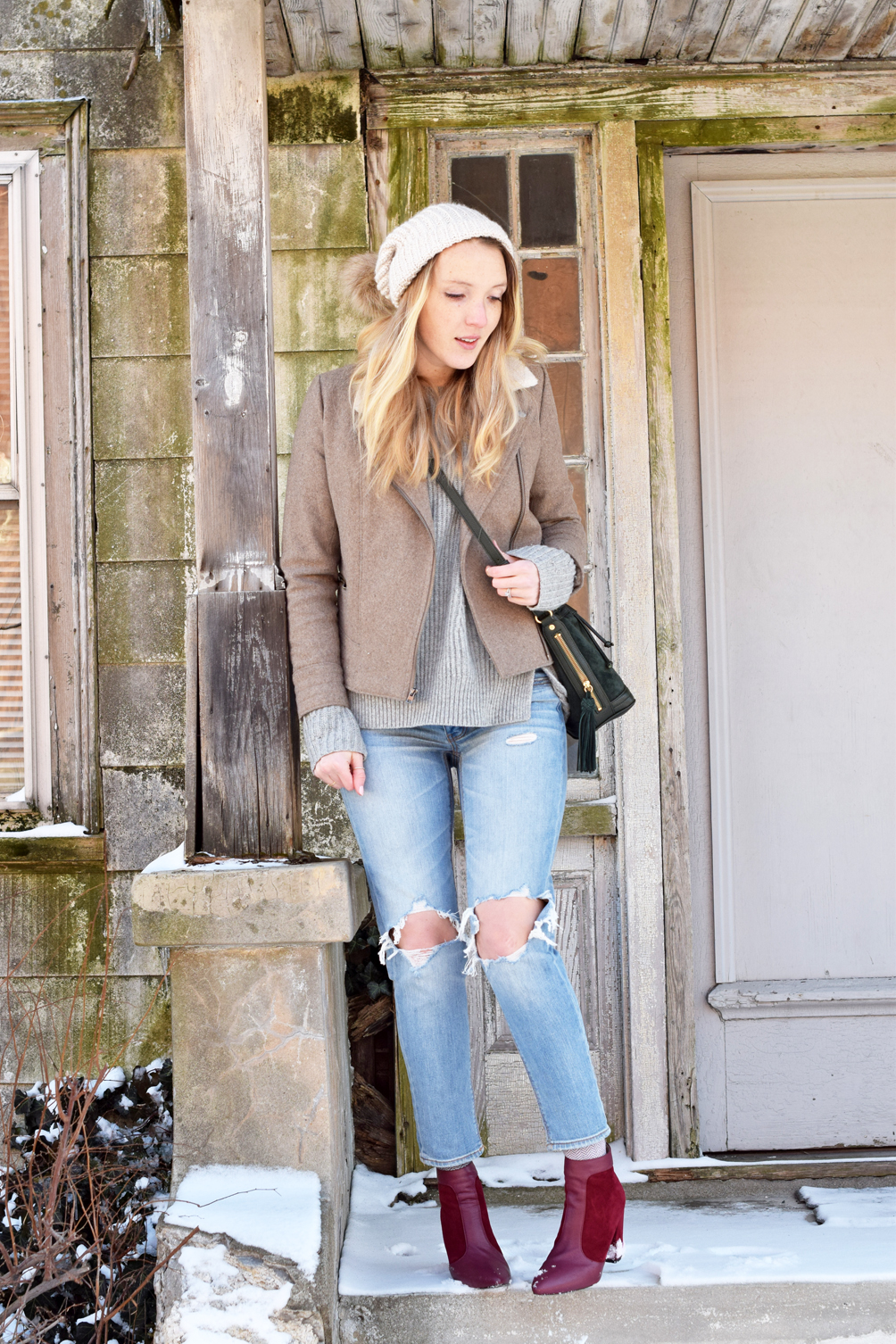 busted denim winter to spring outfit - one brass fox