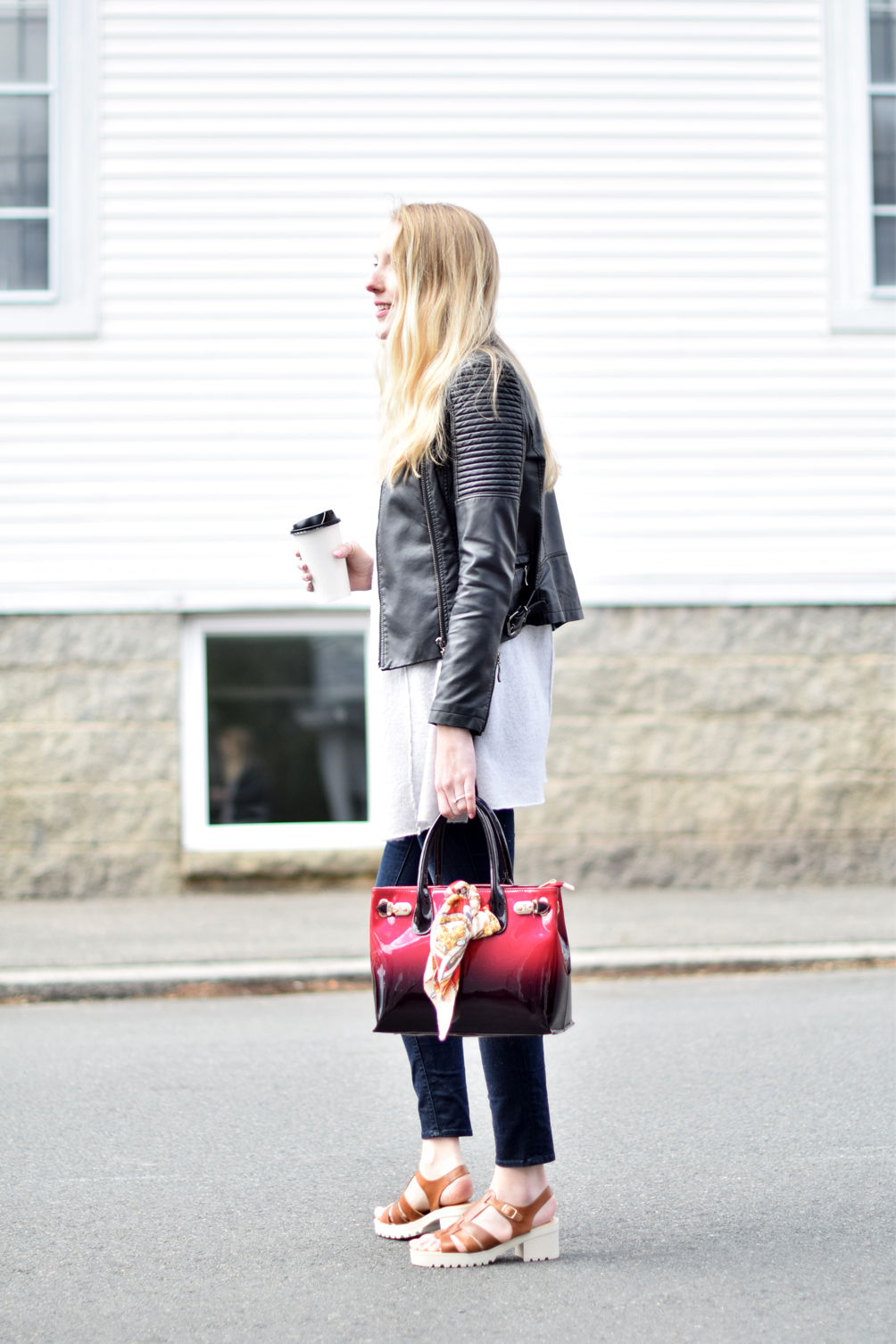 cropped jacket, cashmere sweater, skinny jeans, and sandal clogs for spring - one brass fox