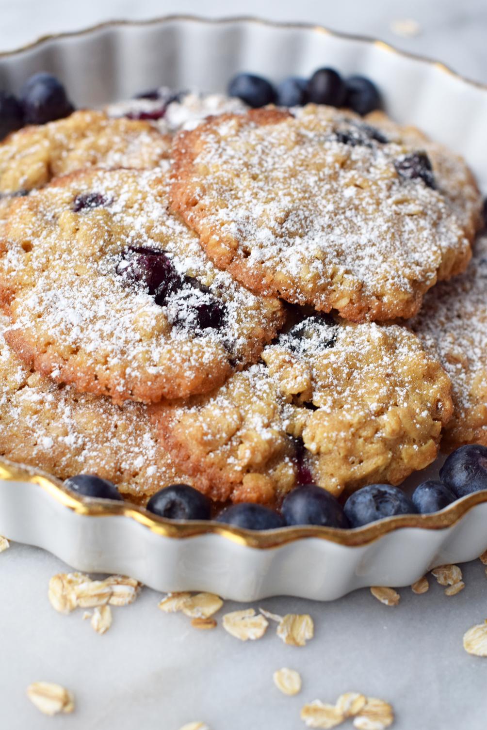 blueberry oatmeal cookies recipe - one brass fox