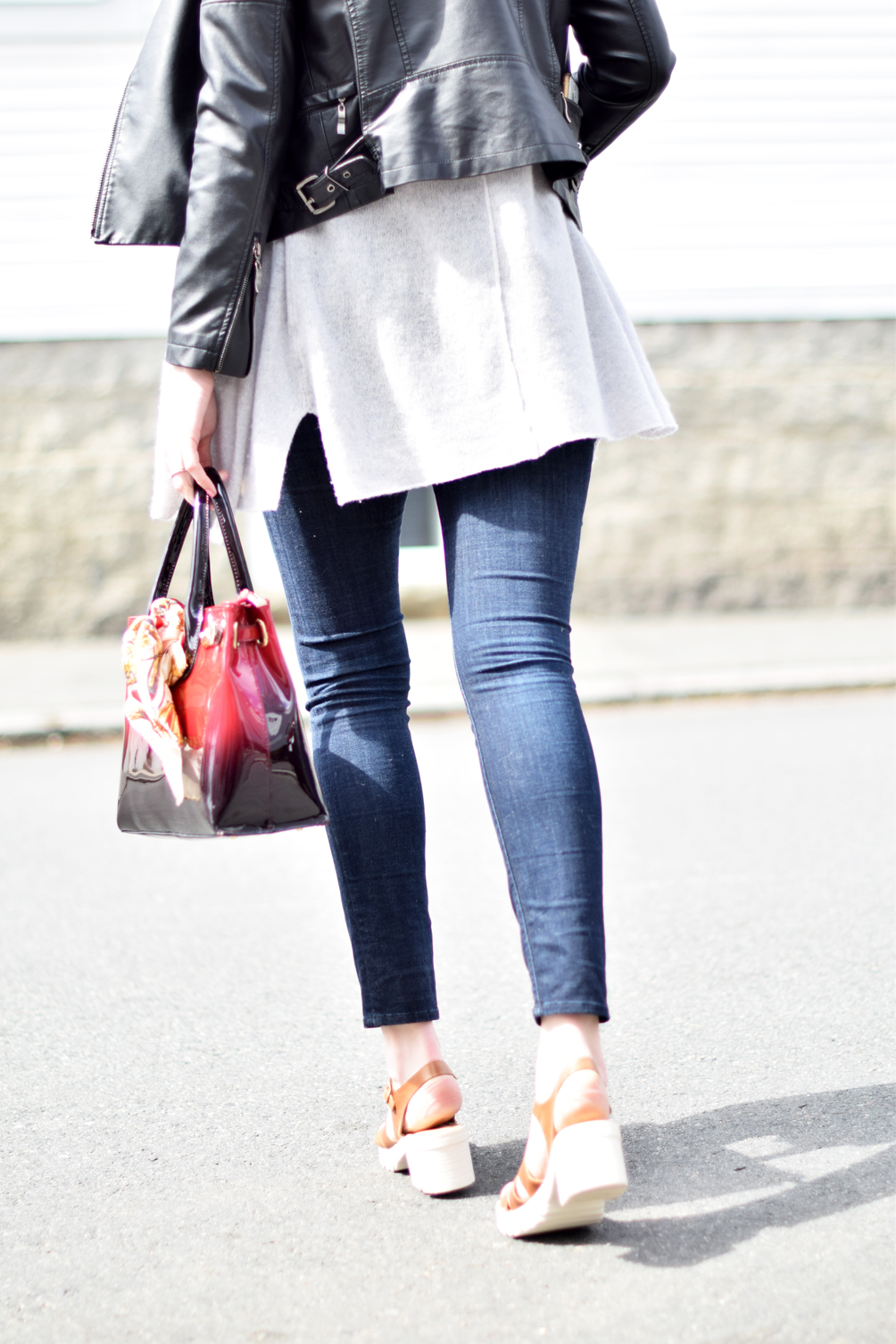 cropped moto jacket, skinny jeans, sandal clogs - one brass fox