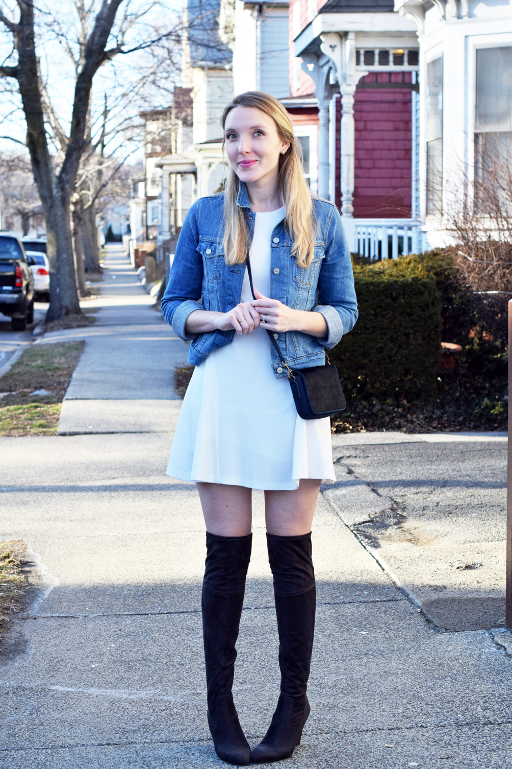 spring boots over the knee with a classic denim jacket - one brass fox