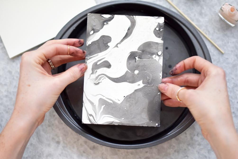 DIY marbleized stationery - one brass fox