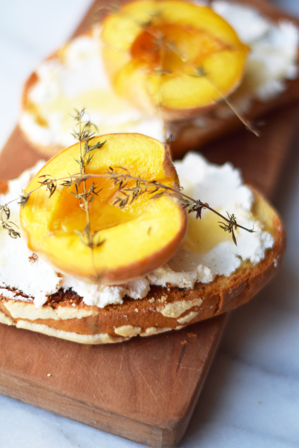 thyme roasted peach goat cheese toast - one brass fox
