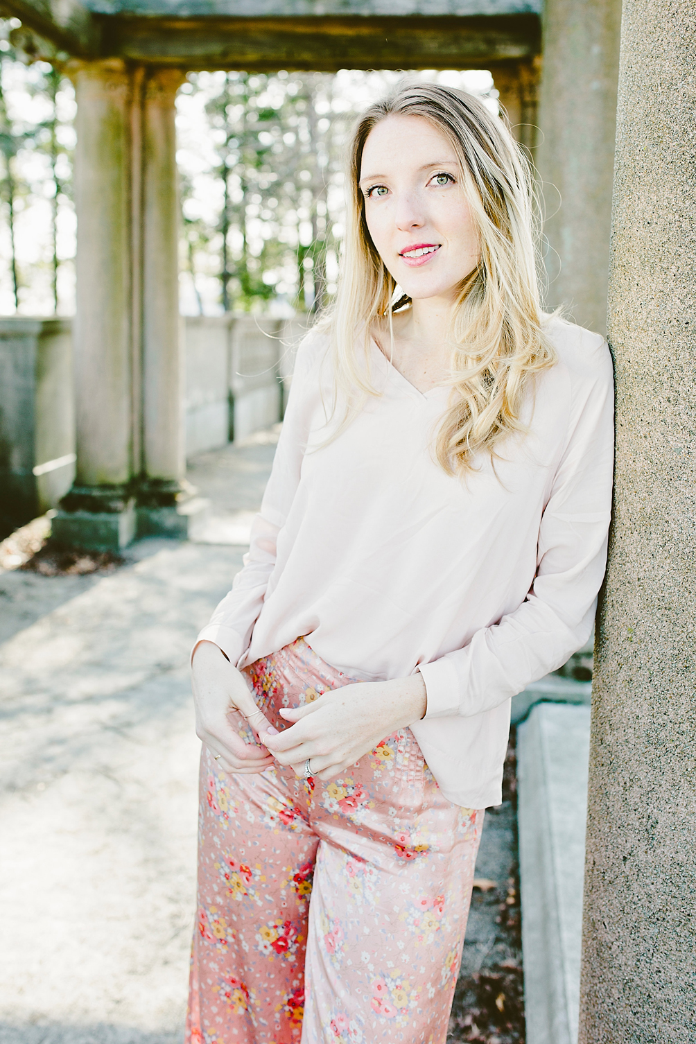 silk floral pants with a billowy blush top from byTiMo - one brass fox