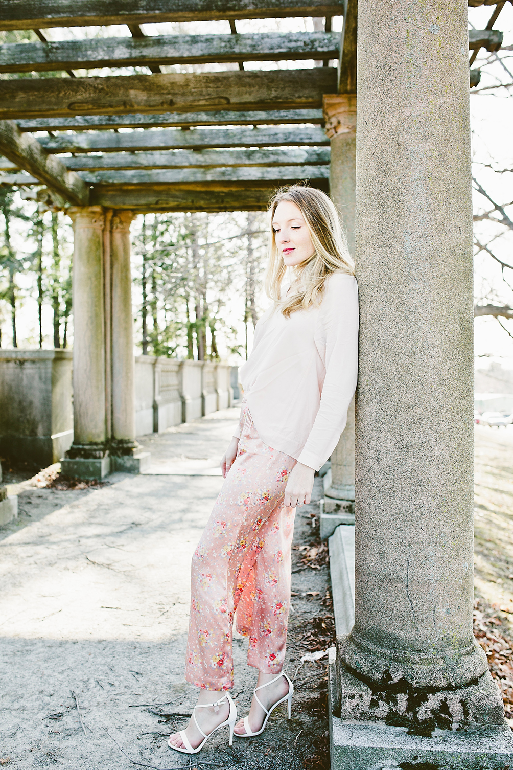 floral silk pants and blush top - one brass fox