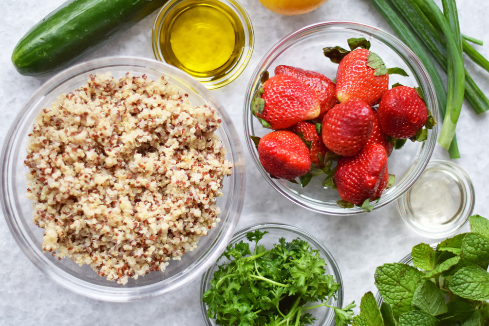 strawberry quinoa tabouli recipe - one brass fox