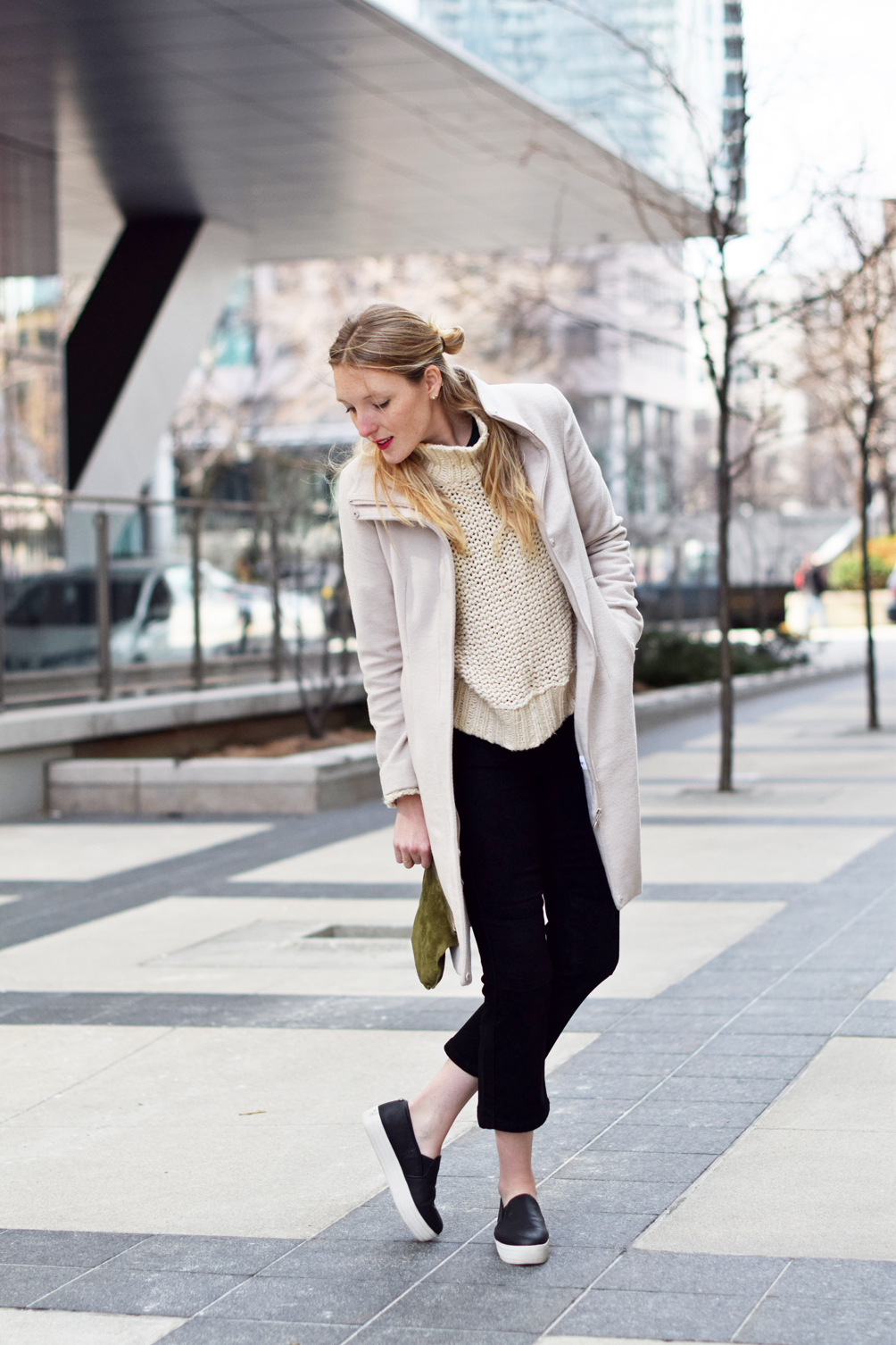 crop flare jeans with platform sneakers and a chunky sweater - one brass fox