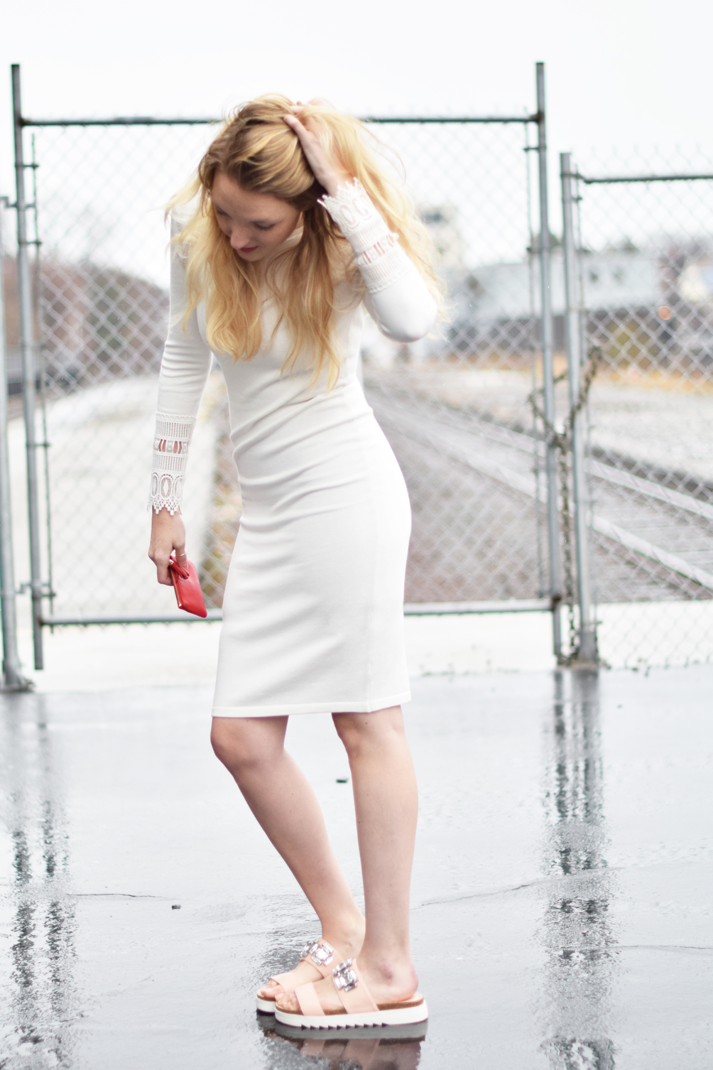little white dress for spring with pink slide sandals - one brass fox
