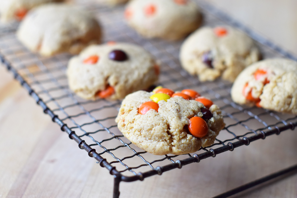 reeses pieces peanut butter cookies recipe - one brass fox