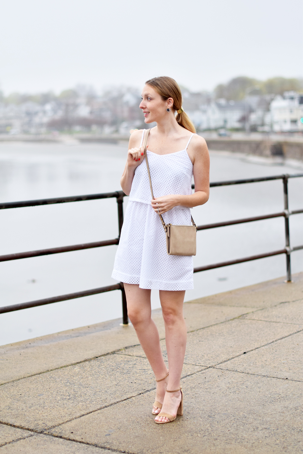 eyelet mesh tiered dress with tan sandals and crossbody bag, spring style - one brass fox