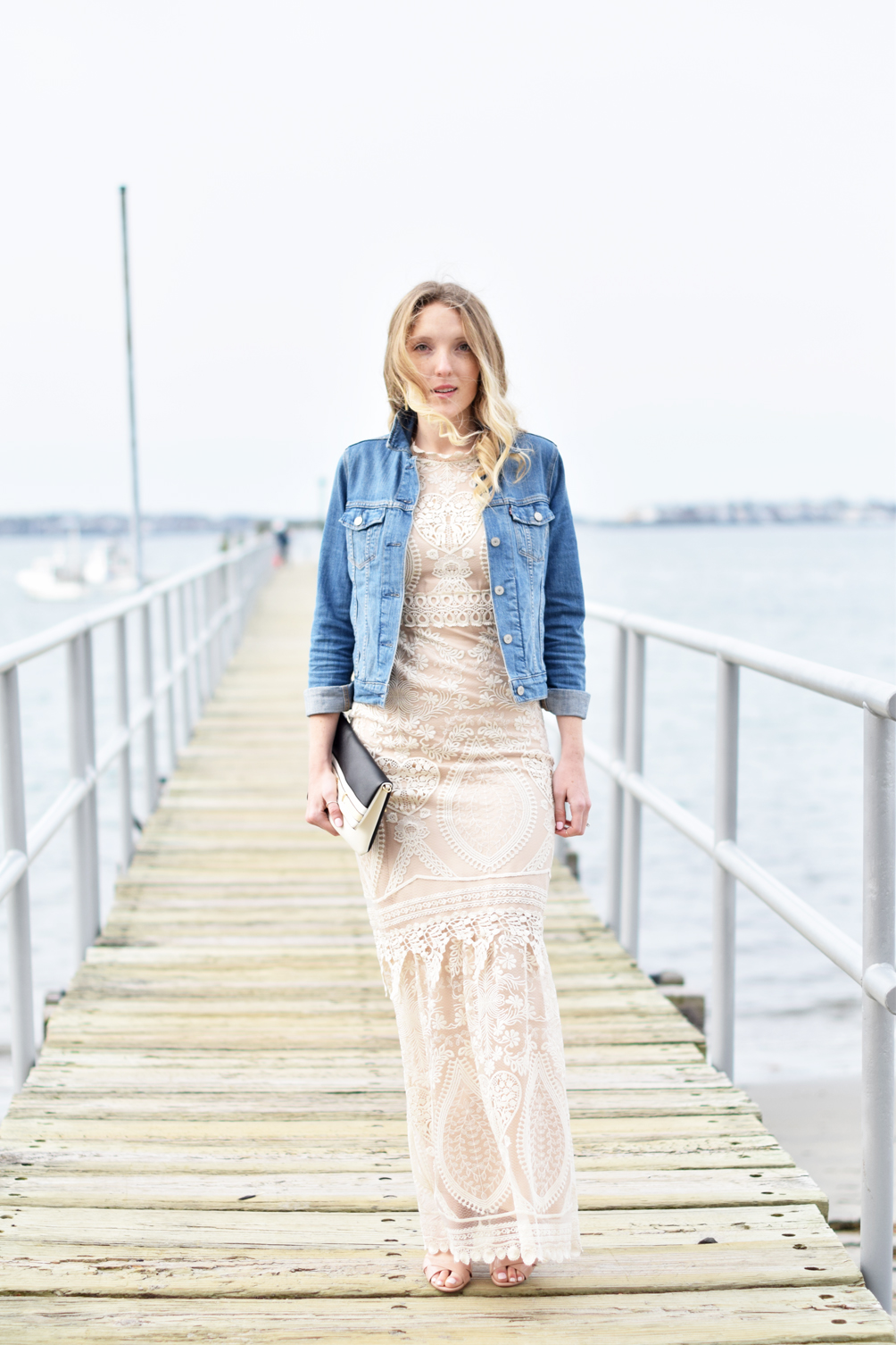 BHLDN peekaboo lace dress with vintage denim jacket - one brass fox
