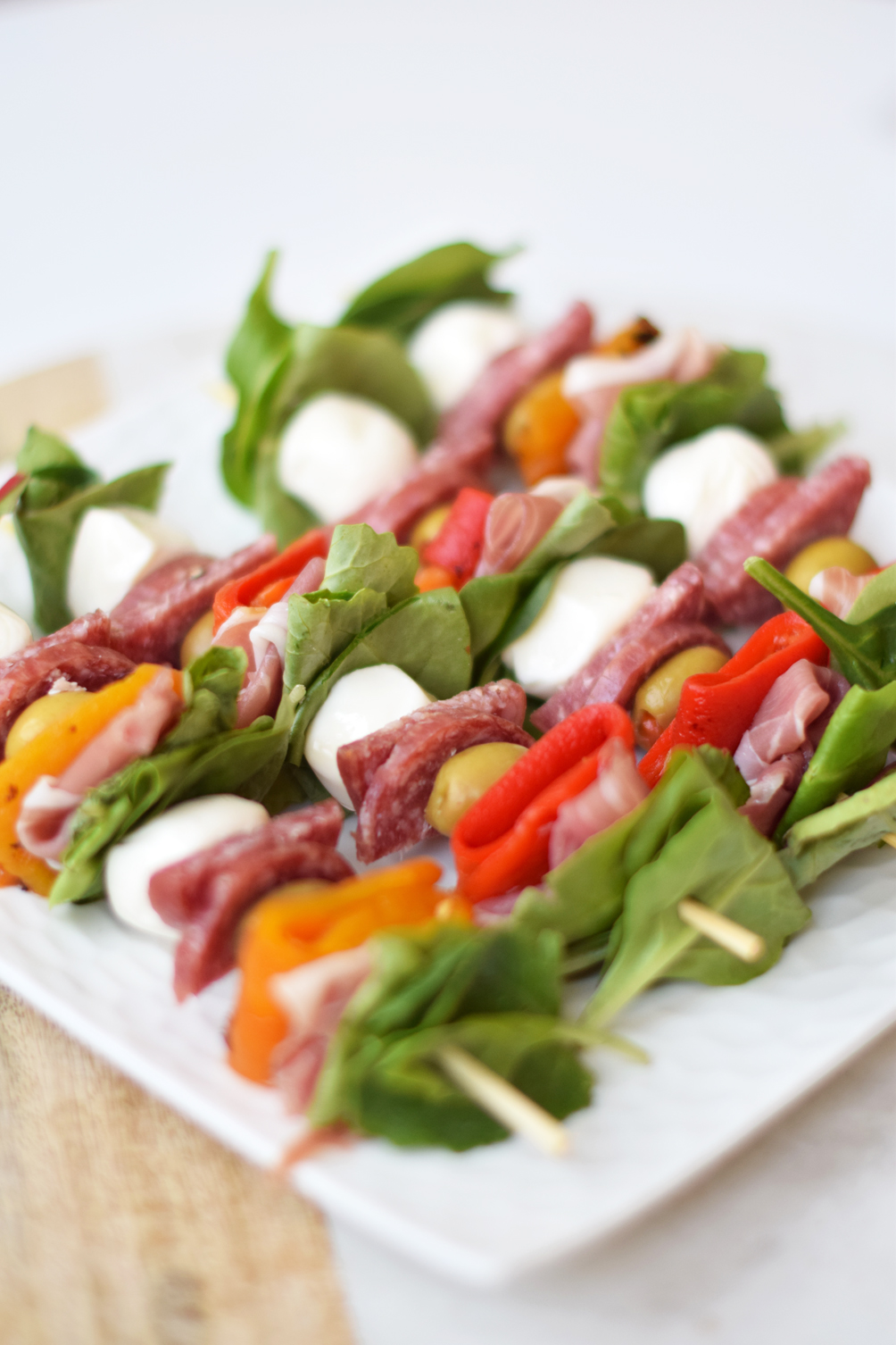 easy Memorial Day party recipe, antipasto skewers - one brass fox