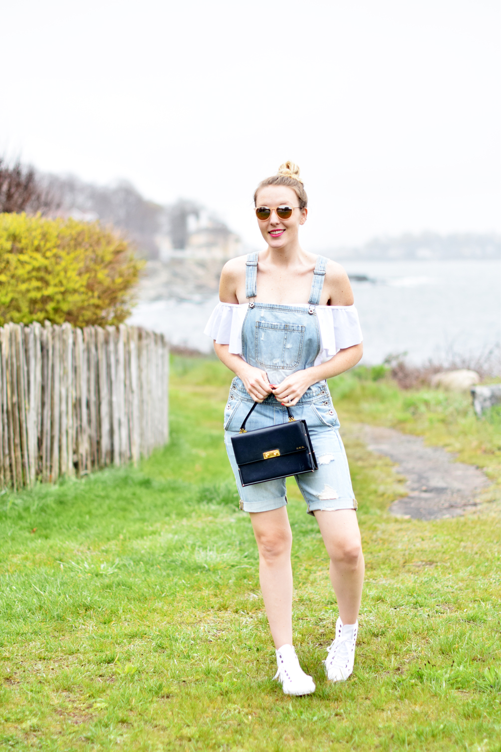 distressed overall shorts with off the shoulder ruffled one-piece bathing suit and high top sneakers - one brass fox