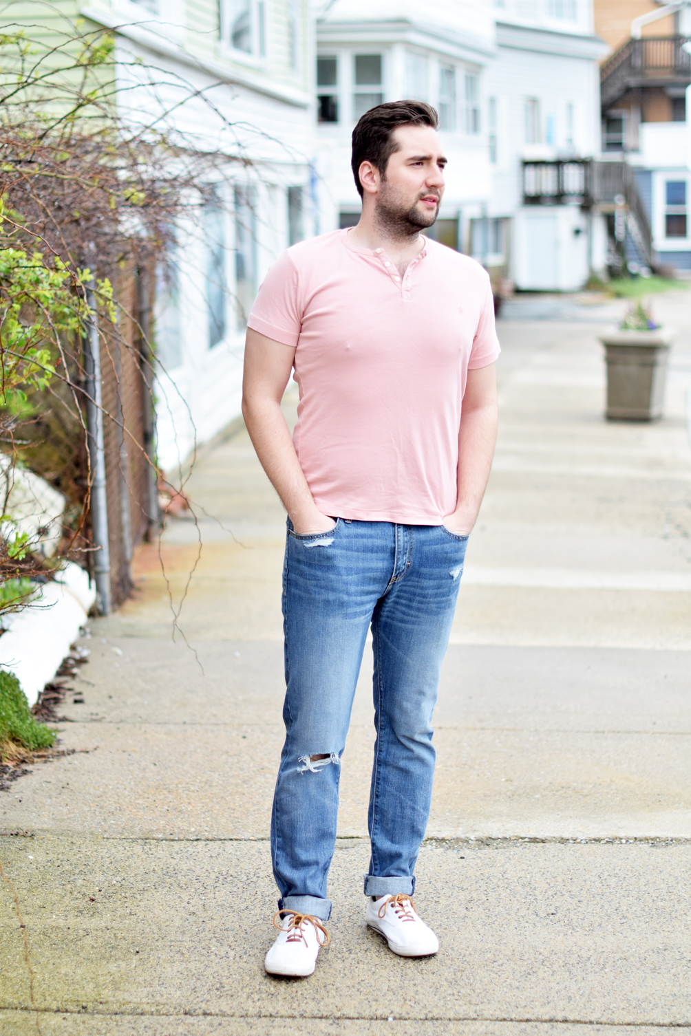 a gentle(man) friday, mens spring fashion with white trainers, a buttoned tee, and distressed denim - one brass fox