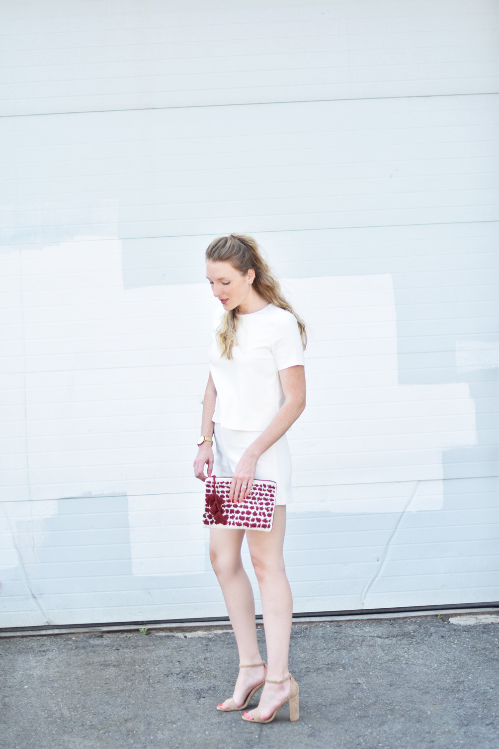 Leslie Musser of one brass fox shares summer style inspiration with a button back white romper