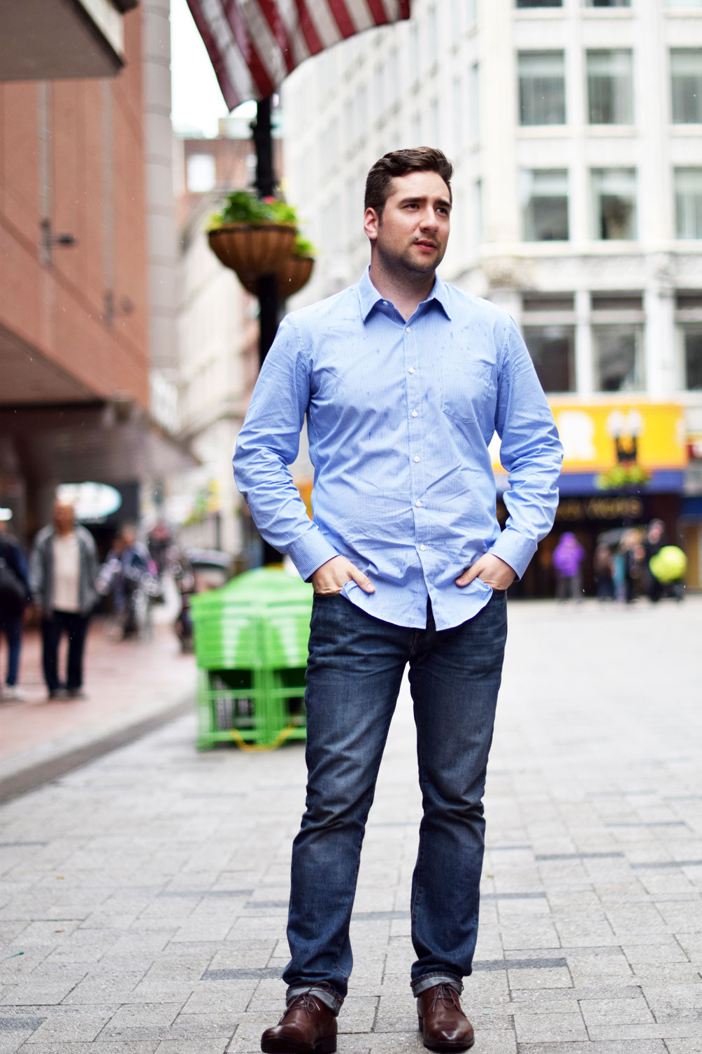 Leslie Musser of one brass fox talks men's spring fashion with brown leather oxfords, a button-down, and relaxed denim - a gentle(man) friday