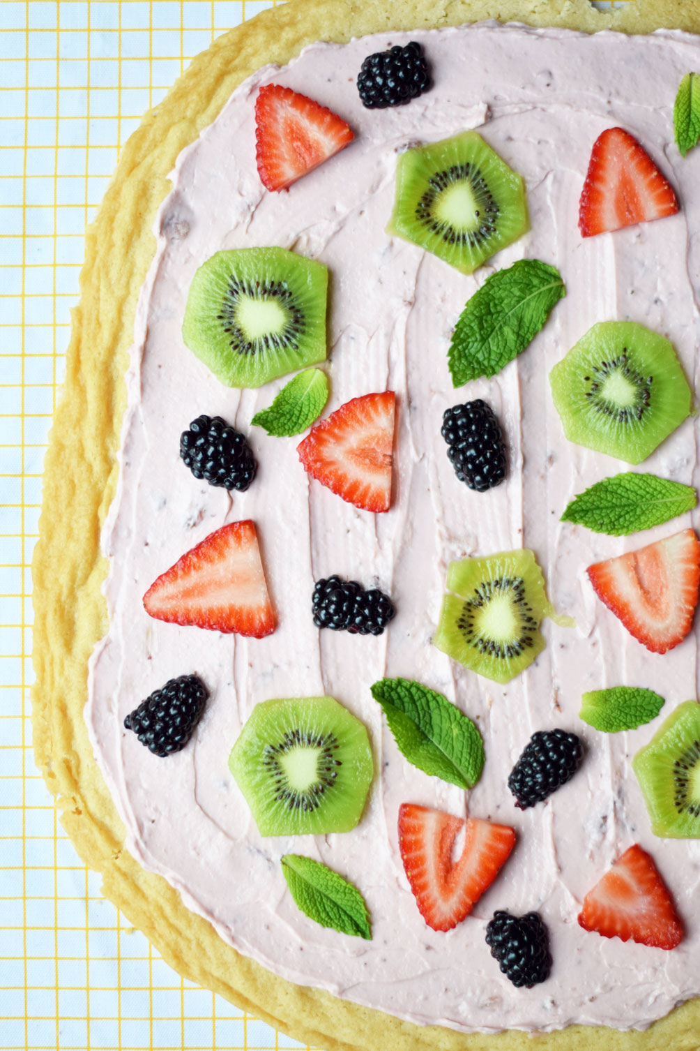 bare fruit sugar cookie fruit pizza