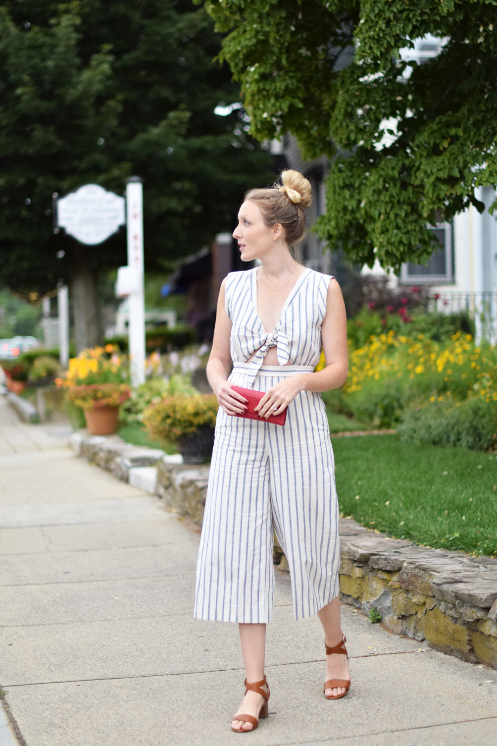 Madewell ikat stripe jumpsuit with leather sandals and a top knot from Leslie Musser, one brass fox