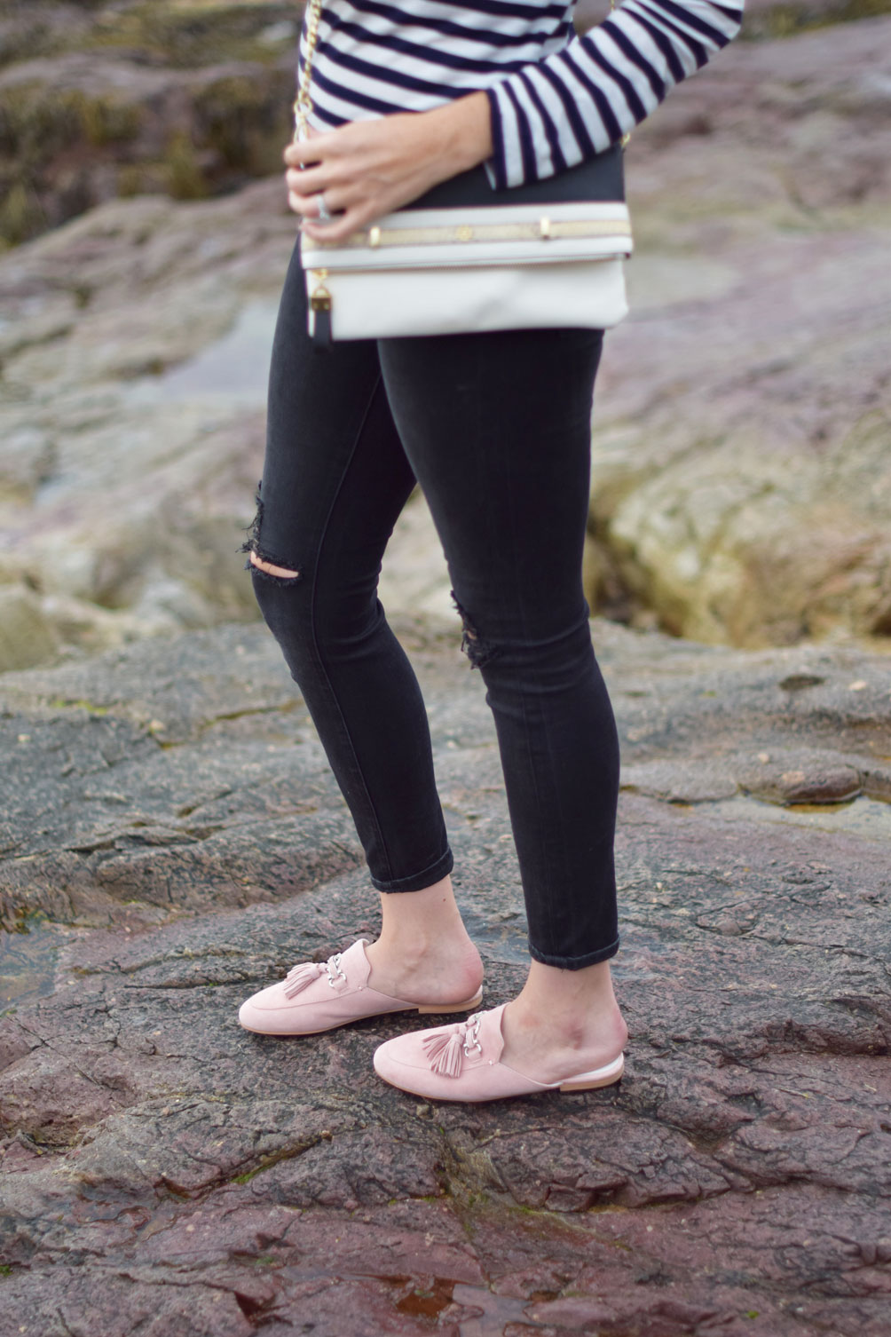 late summer early fall style inspiration from Leslie Musser of one brass fox with blush suede tassel loafers