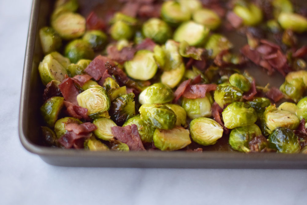 easy and healthy recipe for maple bacon brussel sprouts from Leslie Musser on one brass fox