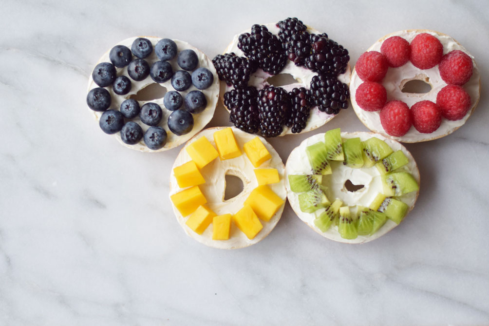 olympics themed bagel bar event inspiration for Rio 2016 from lifestyle blogger Leslie Musser, one brass fox
