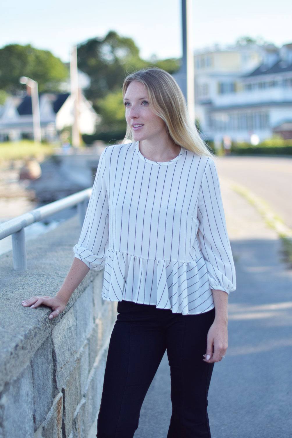 early fall style from Leslie Musser of one brass fox with this ruffle stripe shirt, cropped flare jeans, and black suede sandals