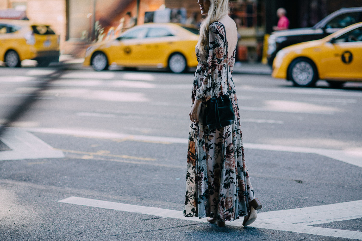 Leslie Musser SS17 NYFW street style outfit in BHLDN floral velvet gown on one brass fox