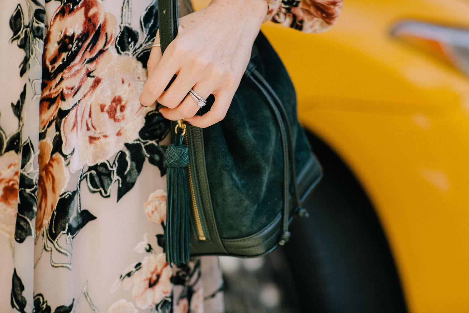 nyfw street style emerald tassel shoulder bag on Leslie Musser one brass fox