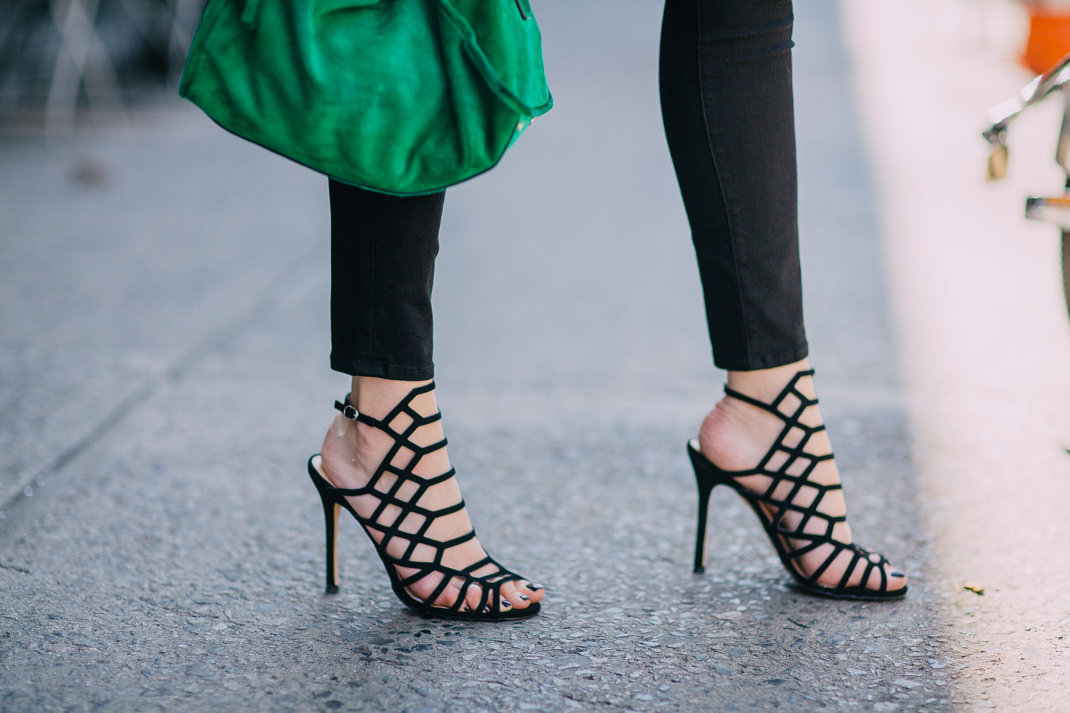 Express cage sandals for fall on Leslie Musser one brass fox