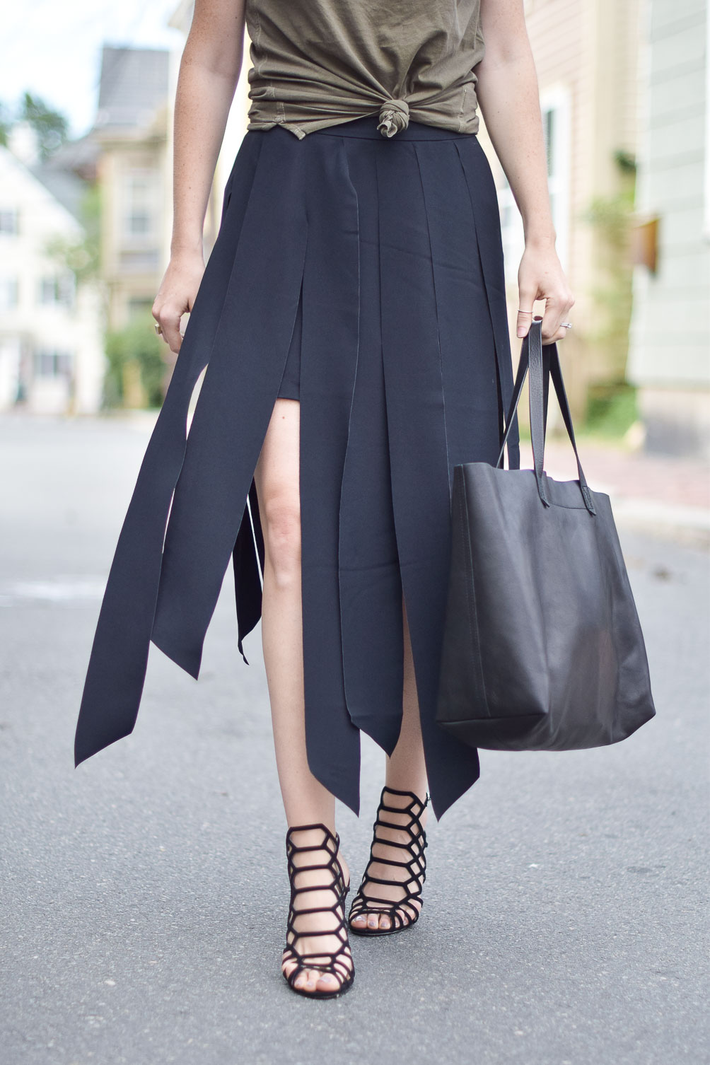 Trouve carwash midi skirt, Madewell tote, Express cage sandals on one brass fox