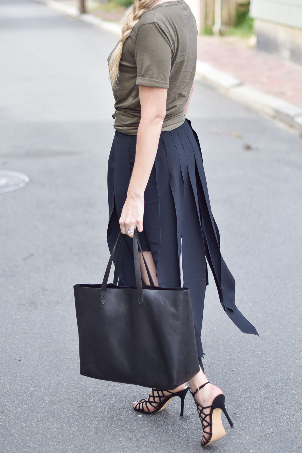 vintage wash tee and carwash midi skirt on Leslie Musser of one brass fox