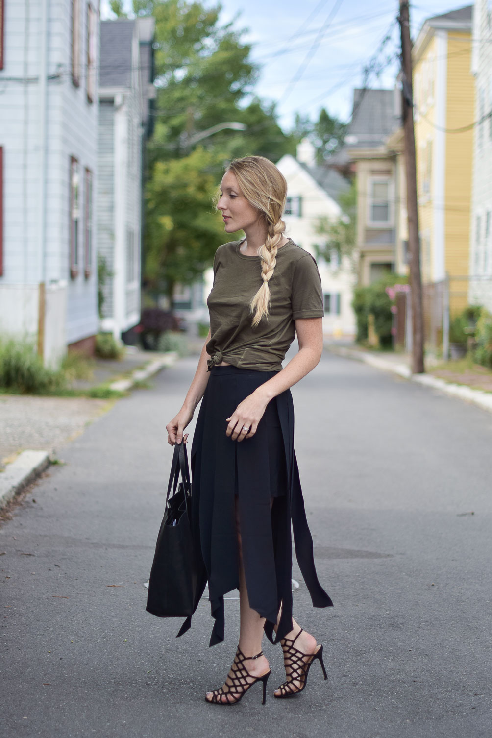 minimalist fall outfit inspiration with a vintage wash tee, carwash midi skirt, and cage sandals on one brass fox
