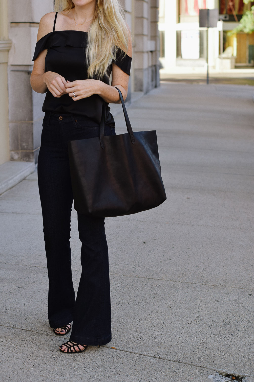 3db4d1f682887e ... Leslie Musser fall style inspiration all black outfit on one brass fox  Leslie Musser fall outfit silk cold shoulder ...