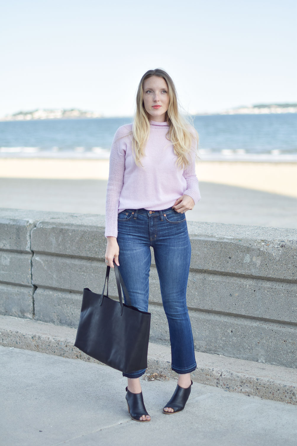 fall style inspiration with Madewell demi boot jeans and east-west transport tote on Leslie Musser, one brass fox
