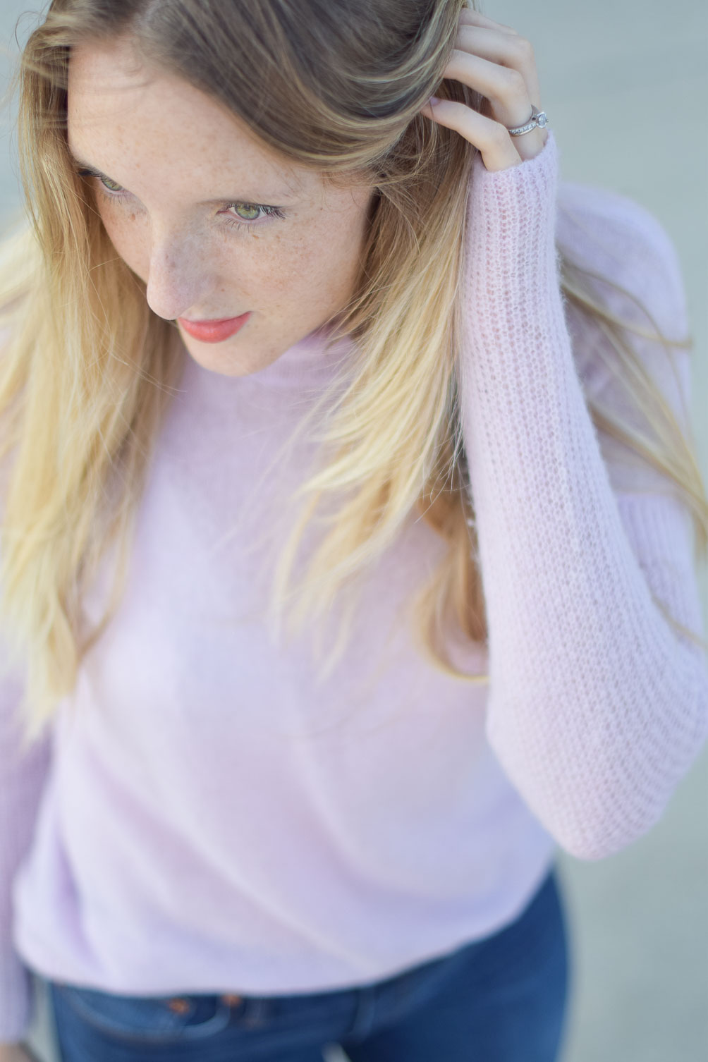 J.Crew lilac turtleneck and coral lipstick - fall outfit inspo on one brass fox