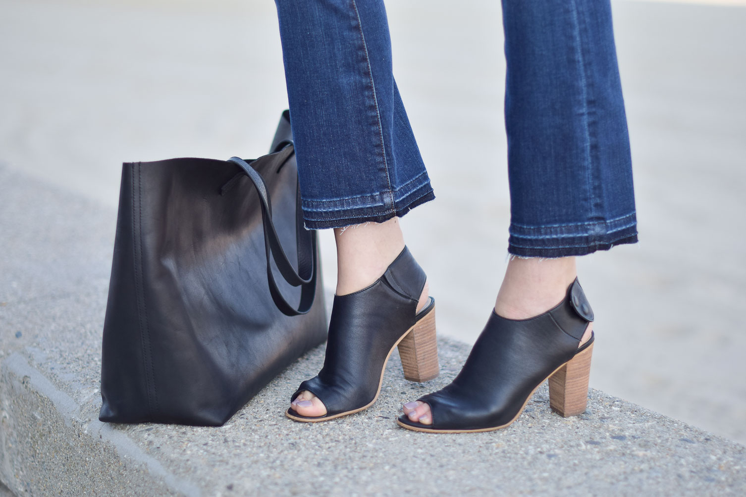 open toe booties and large leather tote for fall style - one brass fox