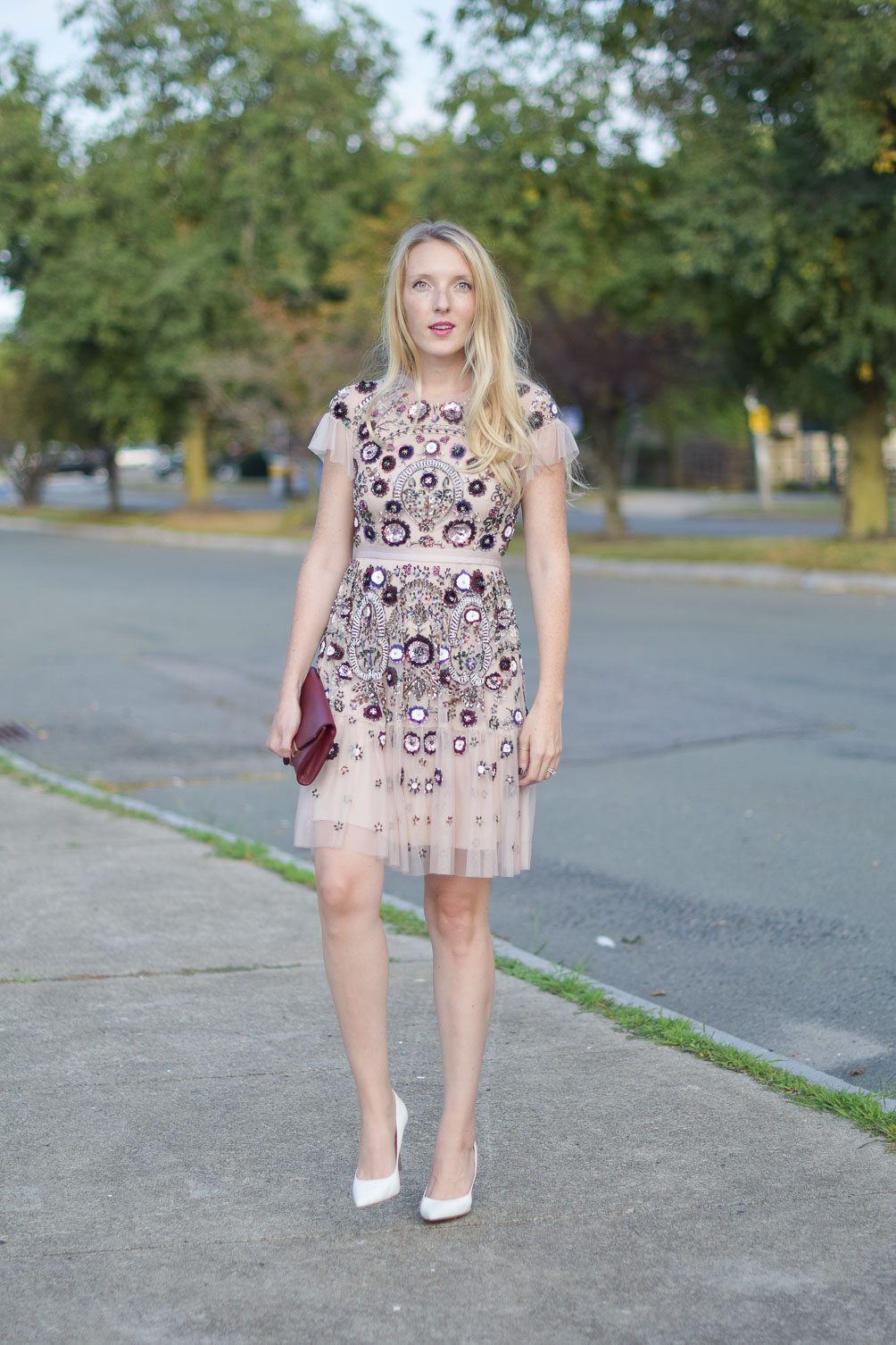 what i wore to the rewardStyle party - Needle & Thread beaded dress from BHLDN on Leslie Musser one brass fox