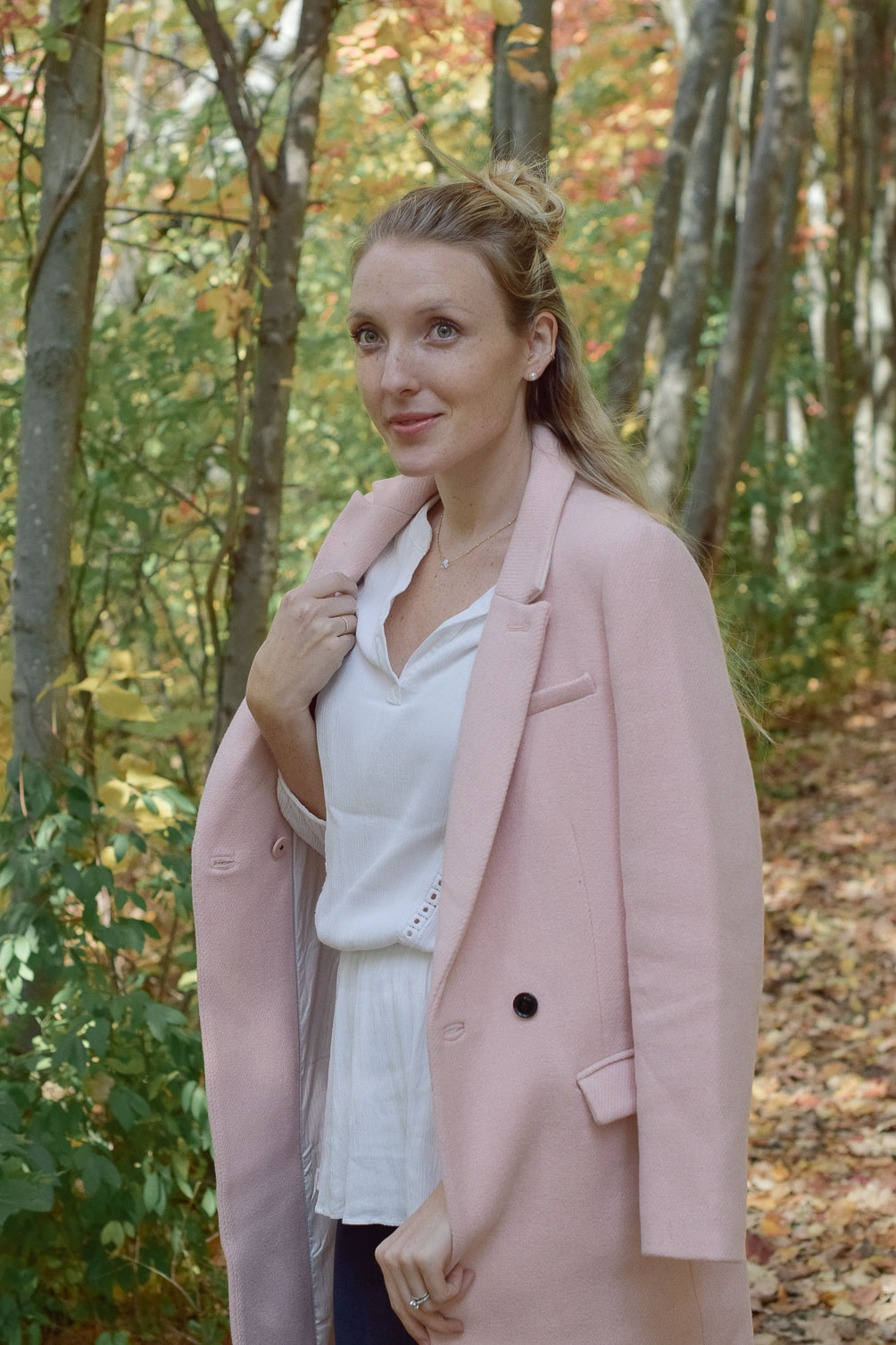 blush wool coat from fall into winter - One Brass Fox