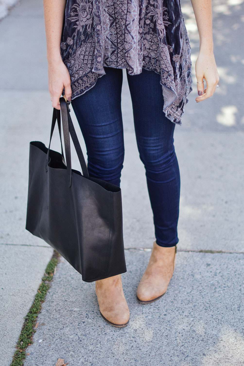 Seven Dials tan ankle booties and Madewell East West tote on one brass fox